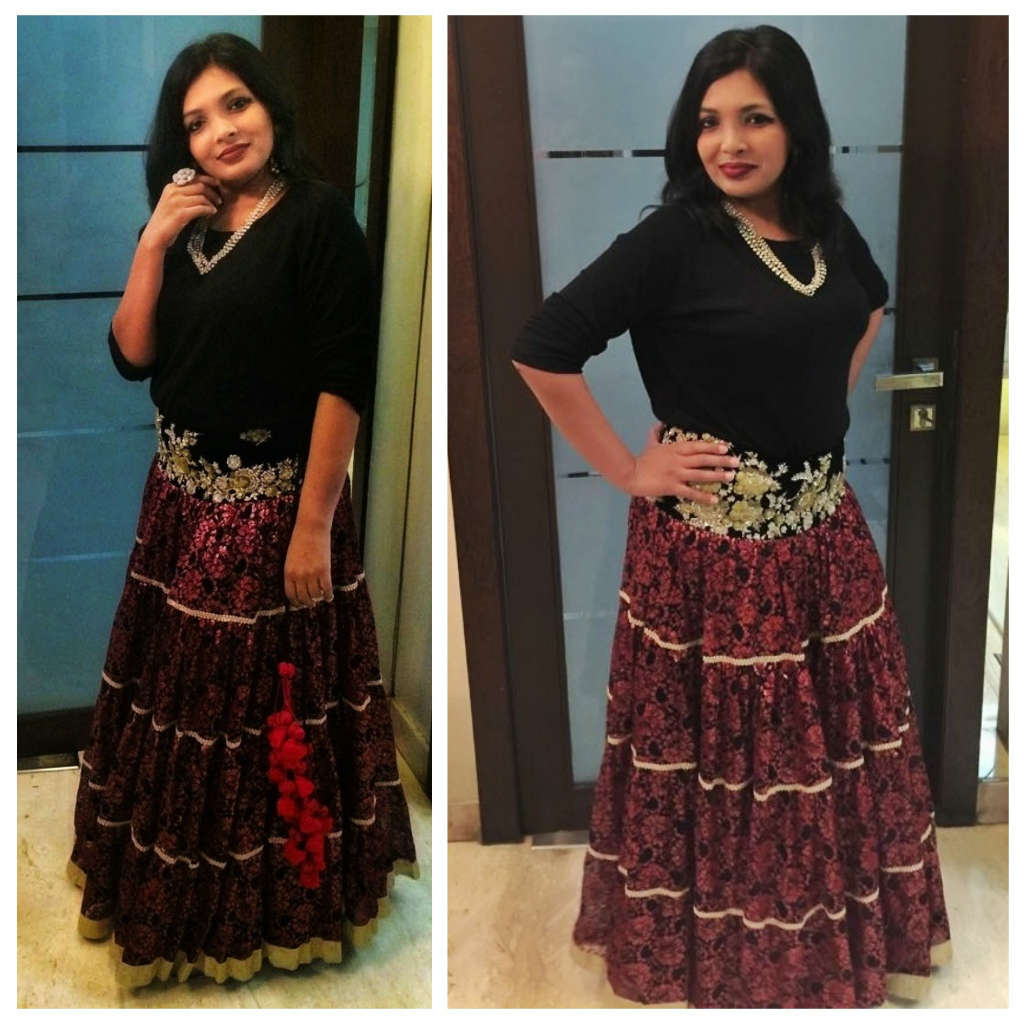 Diwali Fusion Wear Looks with black zara top by Miss F Mixer LOOK 3 Collage